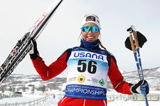 Marte Mæhlum Johansen kunne juble for sølv etter damenes 5-kilometer i fri teknikk under Junior-VM i amerikanske Park City 2017. Foto: Erik Borg.