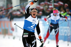 Maiken Caspersen Falla inn som norgesmester på sprint i fri teknikk under NM på Lygna 2017. Foto: Eirik Lund Røer/Eiluro.