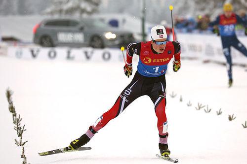 Johannes Høsflot Klæbo i aksjon under NM-sprinten på Lygna 2017, der han endte opp med å gå helt til topps. Foto: Eirik Lund Røer/Eiluro.