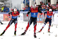 Håvard Solås Taugbøl i front foran Eivind Bakkene (t.v.) og Anders Gløersen i et av heatene under NM-sprinten på Lygna 2017. Taugbøl tok til slutt bronsemedaljen. Foto: Eirik Lund Røer/Eiluro.