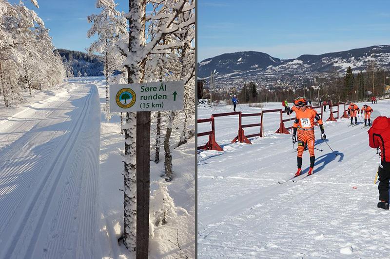 Bildet til venstre viser status for Søre Ål Runden nå i forkant av 2017-utgaven, mens høyre del er løpere som går i mål etter endt dyst i 2016-utgaven av rennet ved Lillehammer. Arrangørfoto.