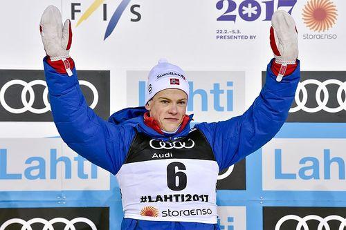 Johannes Høsflot Klæbo ble bronsevinner på sprint i fri teknikk under VM i Lahti. Foto: NordicFocus.