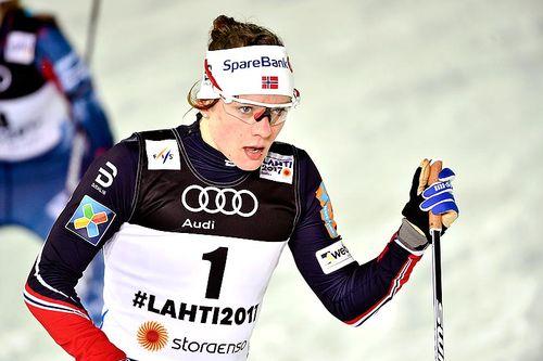 Maiken Caspersen Falla under VM-sprinten i Lahti 2017, der hun på suverent vis vant gullet. Foto: Thibaut/NordicFocus.