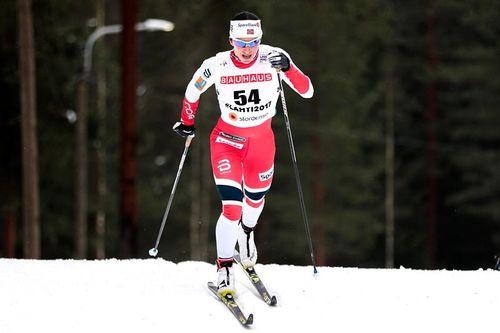 Marit Bjørgen på vei mot gull under Lahti-VM 2017. Foto: Modica/NordicFocus.