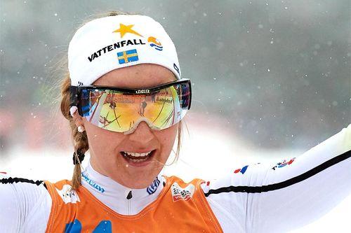 Stina Nilsson kapret seieren i sprintfinalen under verdenscupen i Drammen 2017. Foto: Rauschendorfer/NordicFocus.