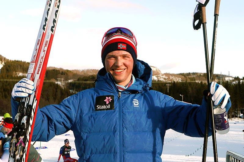 Jon Rolf Skamo Hope vant 20-kilometeren i fri teknikk under Junior-NM i Harstad 2017. Foto: Erik Borg.