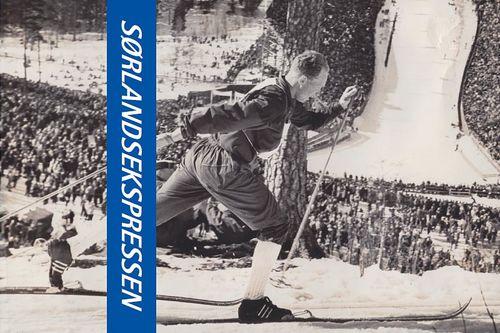 Deler av forsiden til boka Sørlandsekspressen – Idrettsmannen Reidar Andreassen fra Herefoss, utgitt av Idrettslaget Herefoss og skrevet av Thor Gotaas.
