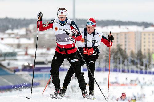 Ingvild Flugstad Østberg i oppvarming under VM i Lahti. Foto: Modica/NordicFocus.