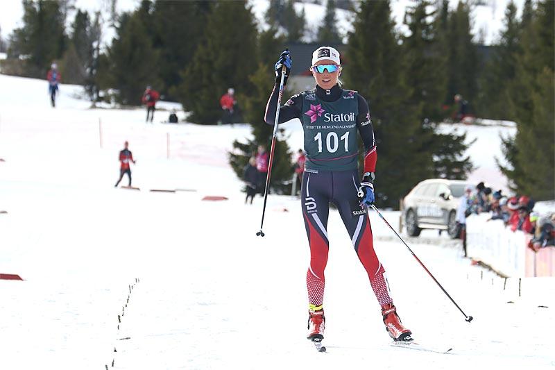 Marte Mæhlum Johansen hadde oppløpet helt alene i skiathlonøvelsen som avsluttet Norgescup for junior 19/20 år på Gålå 2017. Foto: Erik Borg.
