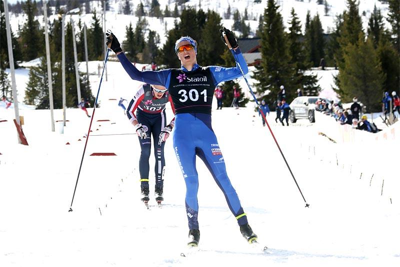 Håvard Moseby var sterkest i 18-årsklassen i norgescupens finale på Gålå 2017. Foto: Erik Borg.