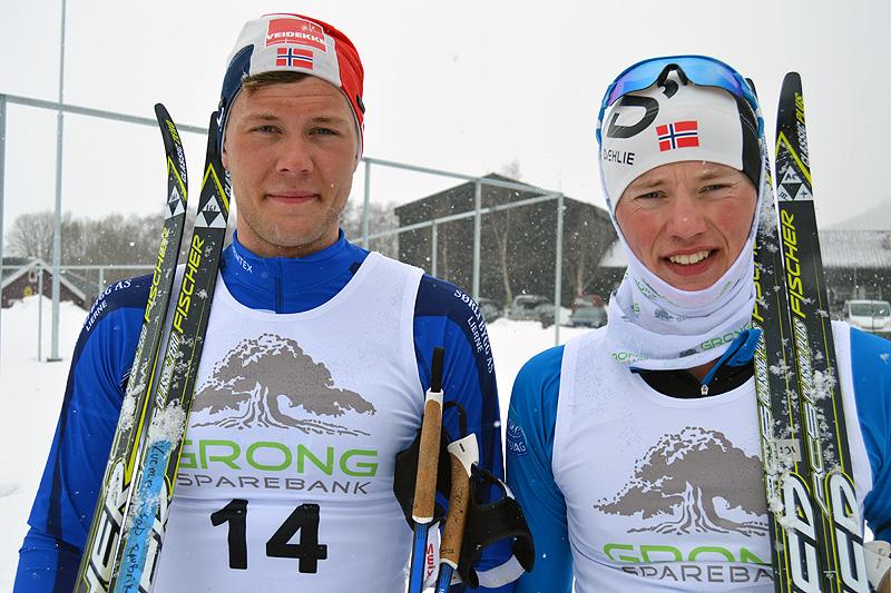 Ole Jørgen Bruvoll (til venstre) vant Gunnarfjellrennet 2017 foran klubbkamerat og juniorløper Anton Elvseth. Foto: Karl Audun Fagerli.