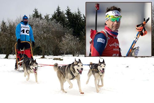 Ole Einar Bjørndalen er blant deltakerne i hundekjøringarrangementet Snørock på Sjusjøen. Collage: Langrenn.com. Foto: Creative Commons/Pixabay.com. Foto (innfelt): NordicFocus.