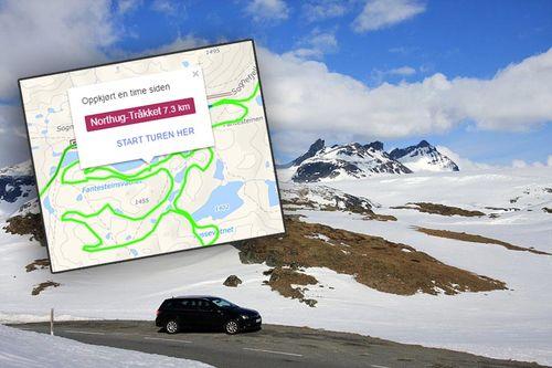 Fra Sognefjellet Sommerskisenter som er fast bruker av GPS-trackingen fra Løyper.net. Foto og grafikk: Geir Nilsen/Langrenn.com og Løyper.net.