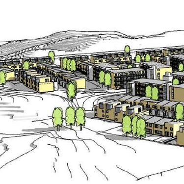 Illustrasjon av bygninger tenkt på Hval boligområde