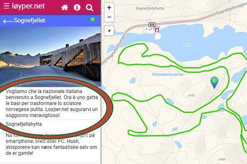 Løyper.net med noen ord på italiensk, dynamisk innlagt i teksten de viser. Grafikk: Løyper.net og Langrenn.com.