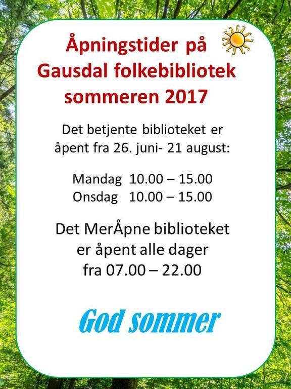 Sommeråpningstider 2017
