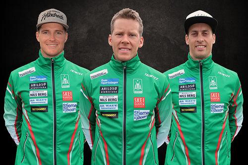Torgeir Skare Thygesen (fra venstre), Anders Gløersen og Kjetil Dammen vil alle gå i de karakteristiske grønne dressene til Rustad IL i vinter. Foto: Rustad IL.