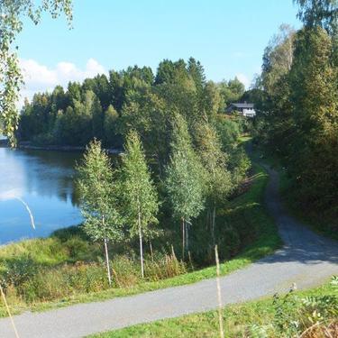 Bilde av stien langs Glomma fra Kuskerudnebben mot Bingsfoss ungdomsskole