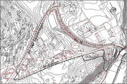 artutsnittet syner planlagt avgrensing av planområdet (markert med stipla line)