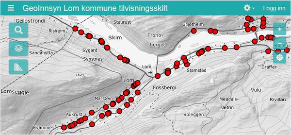 Tilvisningsskilt Lom kommune