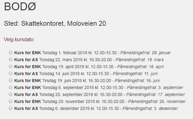 Datoer kurs skatteetaten 2018