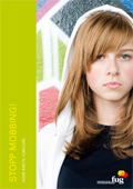 Bilde av en alvorlig ung jente på forsiden av Stopp mobbing-gode råd til foreldre, hele publikasjonen kan lastes ned