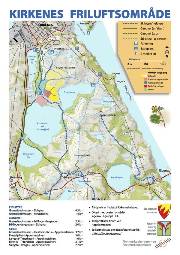 Kirkenes Friluftsområde kart over stier mm april  2010