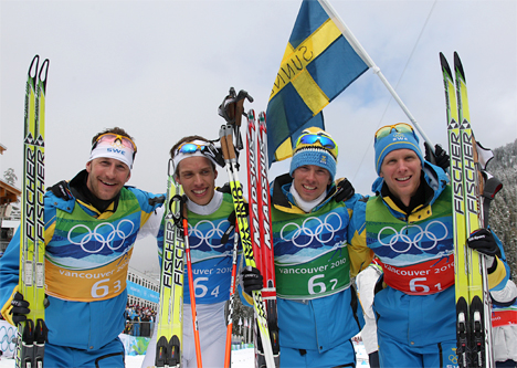 Sveriges gull-gutter i OL-stafetten 2010. Foto: NordicFocus.