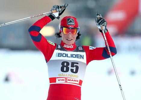 Marit Bjørgen inn til seier i Gällivare 2010. Foto: Hemmersbach/NordicFocus.