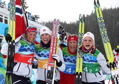 Norges gulljenter i OL-stafetten 2010. Foto: NordicFocus.