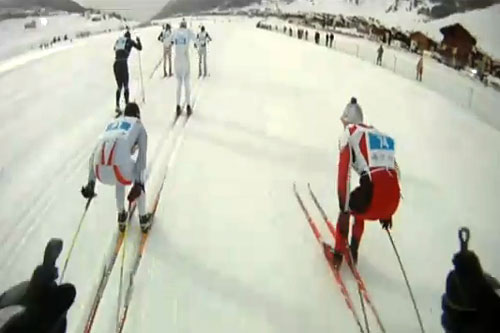 Starten i La Sgambedas 21-kilometer, sett fra André Haugsbøs hodekamera. Skjermdump fra YouTube.