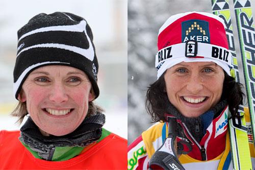 Bente Skar og Marit Bjørgen. Foto: Hemmersbach og Laiho/Nordic Focus.