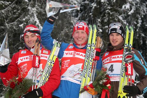 Tour de Ski 2010. Fra venstre: Petter Northug, Lukas Bauer, Dario Cologna. Foto: Hemmersbach/NordicFocus.
