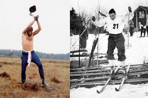 Juha Mieto brukte hakke i myr som grunntrening. Han harvet opp digre myrer på ei lang økt. Nils Karlsson (Mora-Nisse) passerer en nedlagt skigard i Vasaloppet tidlig på 1940-tallet. Begge bilder fra boka Først i løypa. Fotograf ukjent.