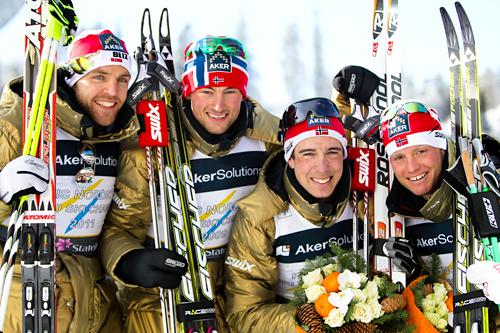 Norges gullgutter under VM i Oslo 2011. Fra venstre: Tord Asle Gjerdalen, Petter Northug, Eldar Rønning og Martin Johnsrud Sundby. Foto: Laiho/NordicFocus.
