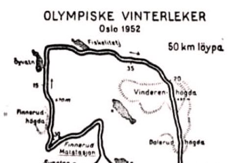 OL 1952 i Oslo - Løypekart 5-mila.