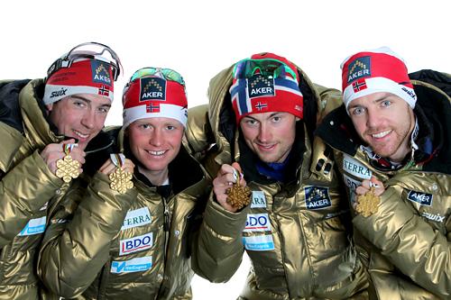 Norges gullgutter under VM i Oslo 2011. Fra venstre: Eldar Rønning, Martin Johnsrud Sundby, Petter Northug og Tord Asle Gjerdalen. Foto: Hemmersbach/NordicFocus.