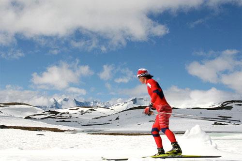Marit Bjørgen på Sognefjellet i 2010. Foto: Ola Jordheim Halvorsen.