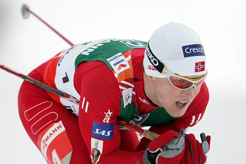 Tore Ruud Hofstad på stafetten under ski-VM i Liberec i 2009, hvor Norge gikk inn til gull. Foto: Domanski/NordicFocus.