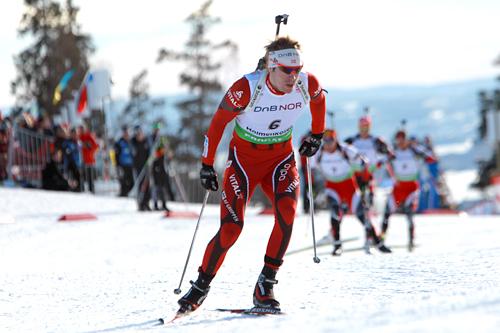 Emil Hegle Svendsen på verdenscupen i skiskyting i Holmenkollen. Foto: Manzoni/NordicFocus.