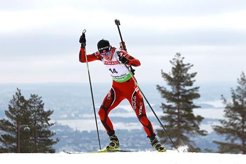 Tora Berger på verdenscupen i skiskyting i Holmenkollen 2011. Foto: Manzoni/NordicFocus.