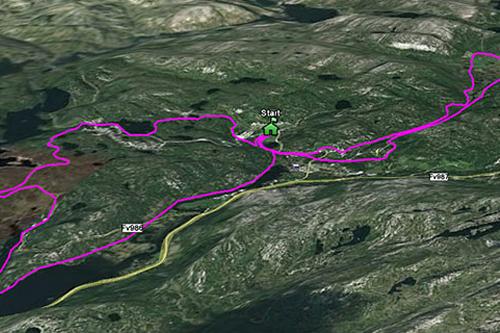 Løypekart for Sirdal Skimaraton. Grafikk: www.sirdal-skimaraton.no.