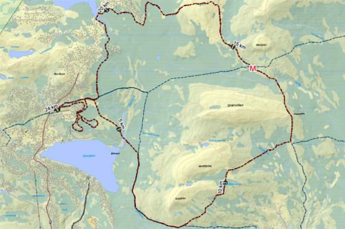 Løypekart for Romjulsrennet på Sjusjøen.