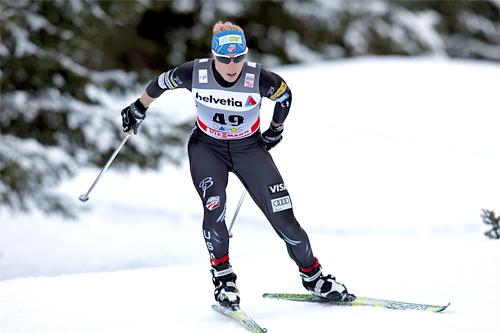 Kikkan Randall i verdenscupen i Davos 2011. Foto: Manzoni/NordicFocus.