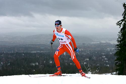 John Anders Gaustad underveis i verdenscupen i Holmenkollen i 2008. Foto: Manzoni/NordicFocus.