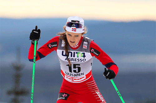 Martine Ek Hagen i verdenscupen på Sjujsøen 2011. Foto: Laiho/NordicFocus.