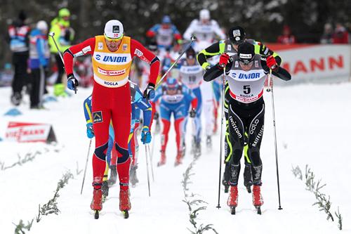 Petter Northug på oppløpet i verdenscupens 15 km lange fellesstart i Rogla. Foto: Hemmersbach/NordicFocus.