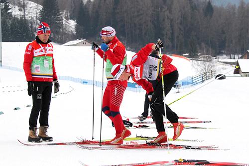 Deler av det norske støtteapparatet under Tour de Ski sesongen 2010/2011. Her i Val di Fiemme. Foto: Hemmersbach/NordicFocus.
