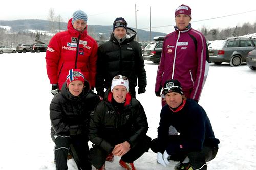 Fellestrening i Sørkedalen. Foran fra venstre: Eirik Brandsdal, Øyvind Moen Fjeld, Øystein Pettersen. Bak fra venstre: Anders Gløersen, Arne Post og Svein Tore Sinnes. Foto: Astrid Bruland.