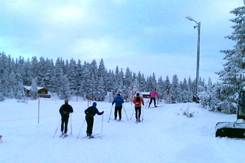 Innbydende forhold for Romjulsrennet på Sjusjøen dagen før start i 2011-utgaven. Privat mobilfoto.